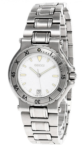 GUCCI Quartz Stainless Steel White Dial Date Unisex Watch 9700M