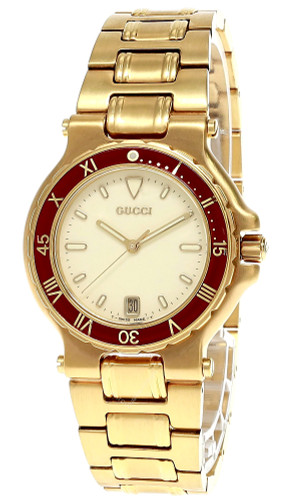GUCCI Vintage S-Steel Gold Cream Dial Date Red Bezel Men's Watch 9800M