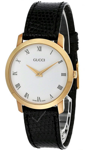 GUCCI Quartz Stainless Steel White Dial BLK Leather Unisex Watch 2200M