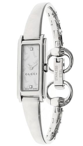 GUCCI Petite S-Steel Diamond White Dial Bangle Women's Watch YA109504