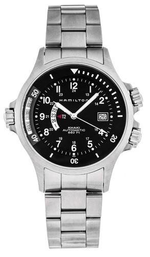 HAMILTON Khaki Navy GMT 42MM AUTO SS Black Dial Men's Watch H77615133