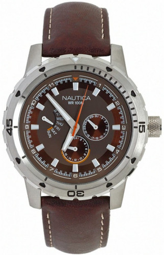 Nautica NCS 350 Multi-function Brown Leather Men's Watch N15611G