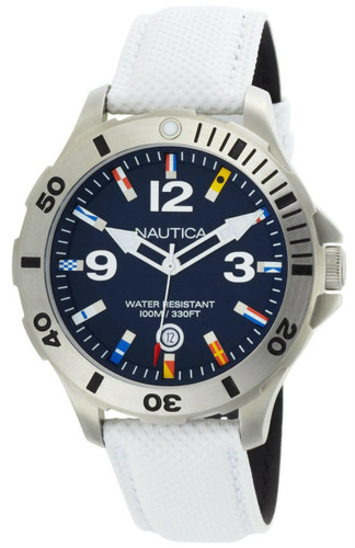 NAUTICA BFD 101 44MM Blue Dial White Polyurethane Men's Watch N12568G