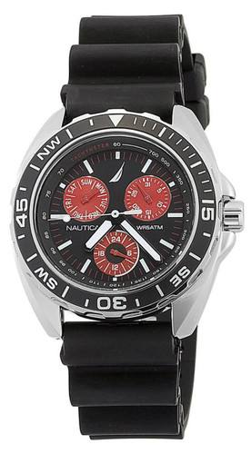 Nautica Multifunction Black with Red Accent Subdials Men Watch N07577G