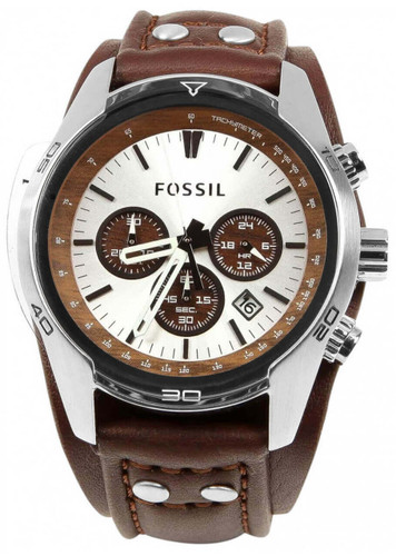 FOSSIL Sport Cuff Chronograph SS Brown Leather Men's Watch CH2565