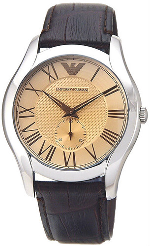 EMPORIO ARMANI Classic Champagne Dial Brown Leather Men's Watch AR1704