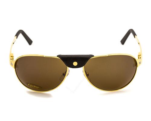 Cartier Santos Dumont 58mm Gold Rimmed Men's Sunglasses T8200888