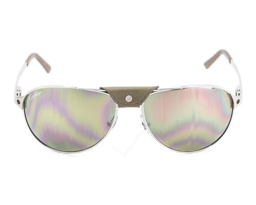 Cartier Santos Dumont Aviator Silver Mirror Men's Sunglasses T8200951