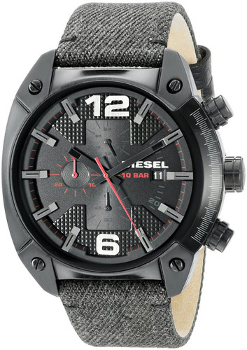 DIESEL Overflow Chronograph Black Dial Black Fabric Men's Watch DZ4373