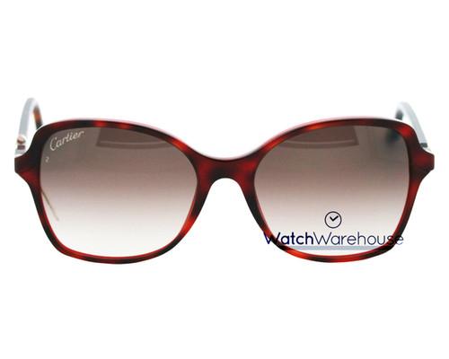 CARTIER Double C-Décor Tortoiseshell Effect Women's Sunglasses ESW00107