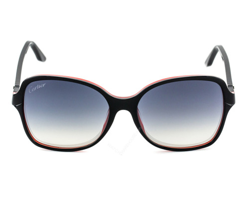 CARTIER Double C-Décor Black Red Composite Women's Sunglasses ESW00099