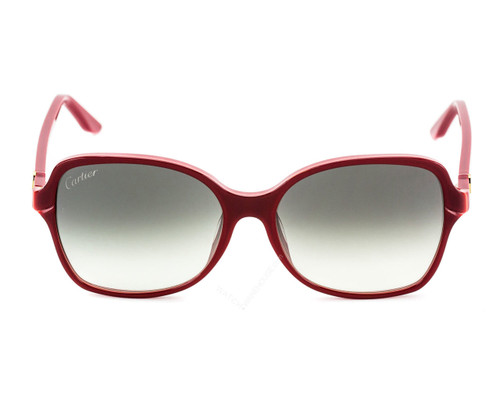 Cartier Double C Décor Burgundy 58/16/140 Women's Sunglasses ESW00101
