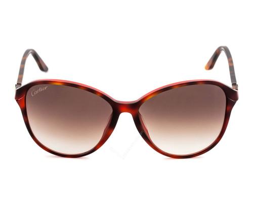 Cartier Double C Décor Tortoiseshell 60/16 Women's Sunglasses ESW00103