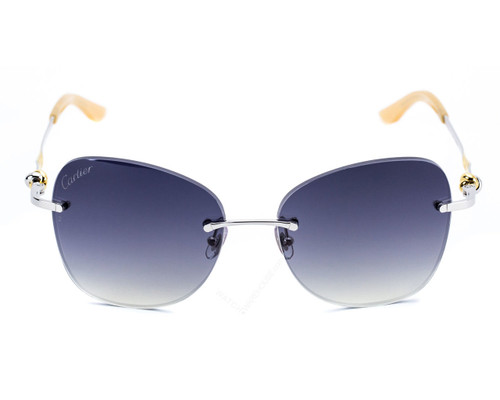 Cartier Trinity Two Tone Golden Gray Lens Women's Sunglasses ESW00050
