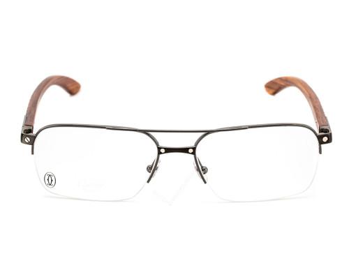 Cartier Santos Titanium Wood Marquetry Men's Optical Glasses EYE00055