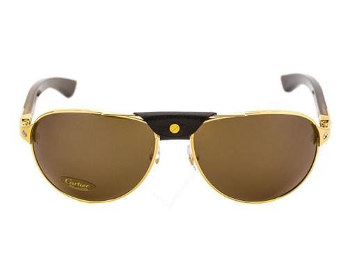 Cartier Santos Dumont Brown Horn Temples Aviator Sunglasses ESW00006