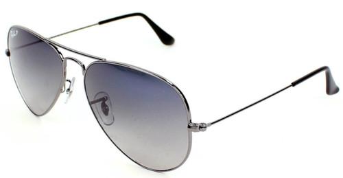 Ray-Ban Aviator Gradient Polarized Gunmetal Sunglasses RB3025 004/78