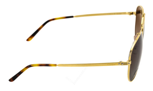 21446c05fc ESW00131 Cartier Santos 61mm Brushed Gold Metal BRN Lens Sunglasses