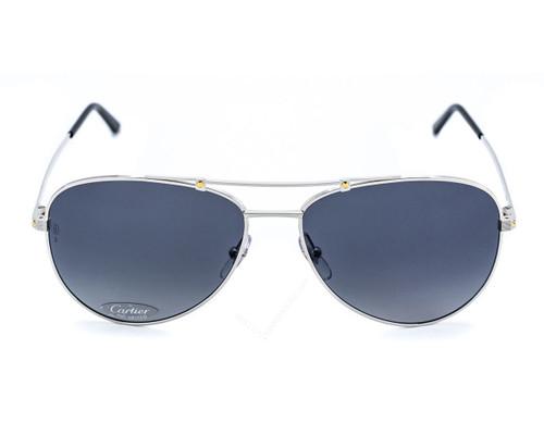 Cartier Santos Aviator Brushed Metal Gray Lens Sunglasses ESW00133