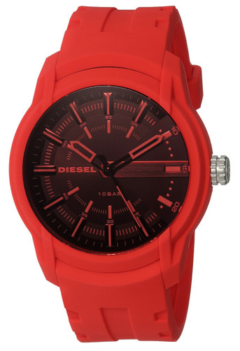 Diesel Armbar Black Sunray Dial Red Silicone Strap Men Watch DZ1820