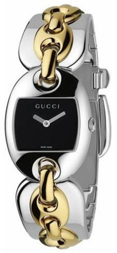 GUCCI Marina S-Steel Black Dial Two-Tone Women's Chain Watch YA121509