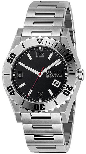 GUCCI Pantheon 44MM Stainless Steel Black Dial Men's Watch YA115211
