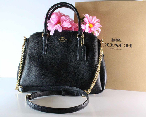 Coach Sage Carryall Satchel Black Leather Gold Chain 225271JAX/F28976
