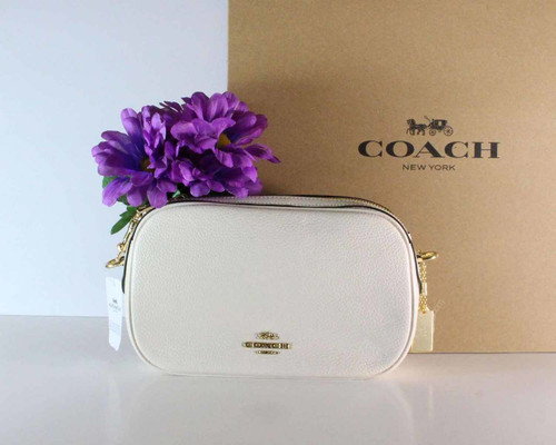 Coach Isla Chain Crossbody Bag White Pebble Leather 230921JAX / F29000