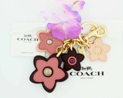 Coach Wildflower Purse Charm in Pink, Peach and Burgundy KC FOB F26790