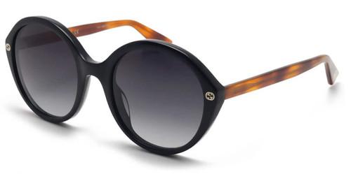 Gucci Dark Round Tortoise Women's Sunglasses GG0023S 003 55-22-140