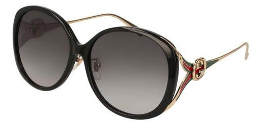 Gucci Grey Gradient Round Women's Sunglasses GG0226SK 001 60-14-130