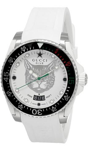 gucci dive white dial rubber strap men's watch
