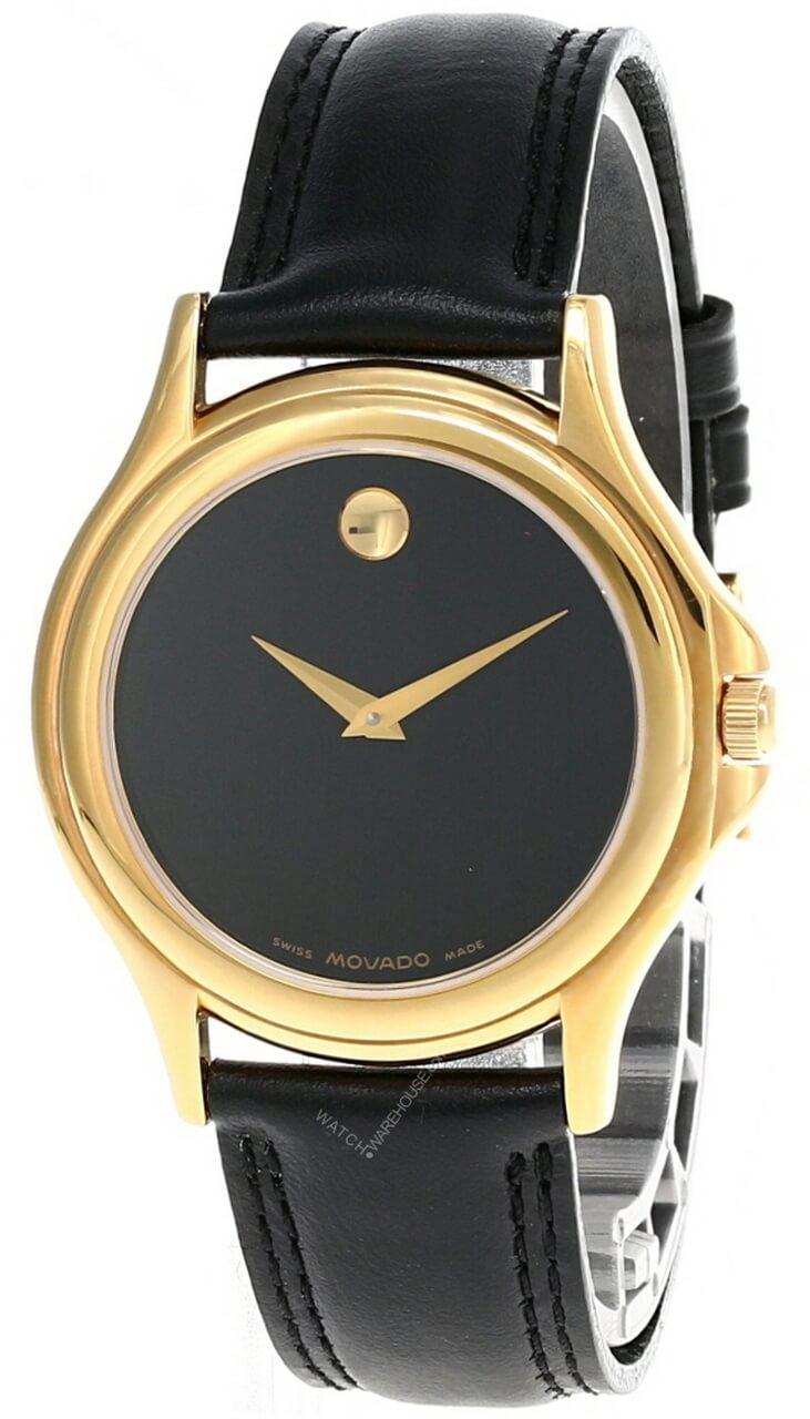 movado black dial leather strap 87-E4-0863 men's watch