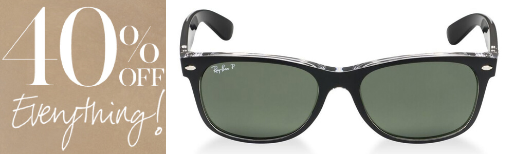 banner featuring 40% off Ray Ban sunglasses
