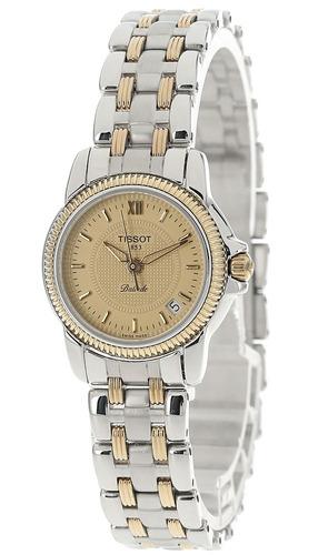 tissot ballade gold dial two-tone women's watch