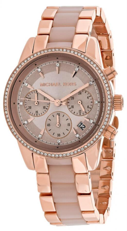 63e5a6903108 MK6307 Michael Kors Ritz Crystals Bezel Women s Rosegold Steel Watch