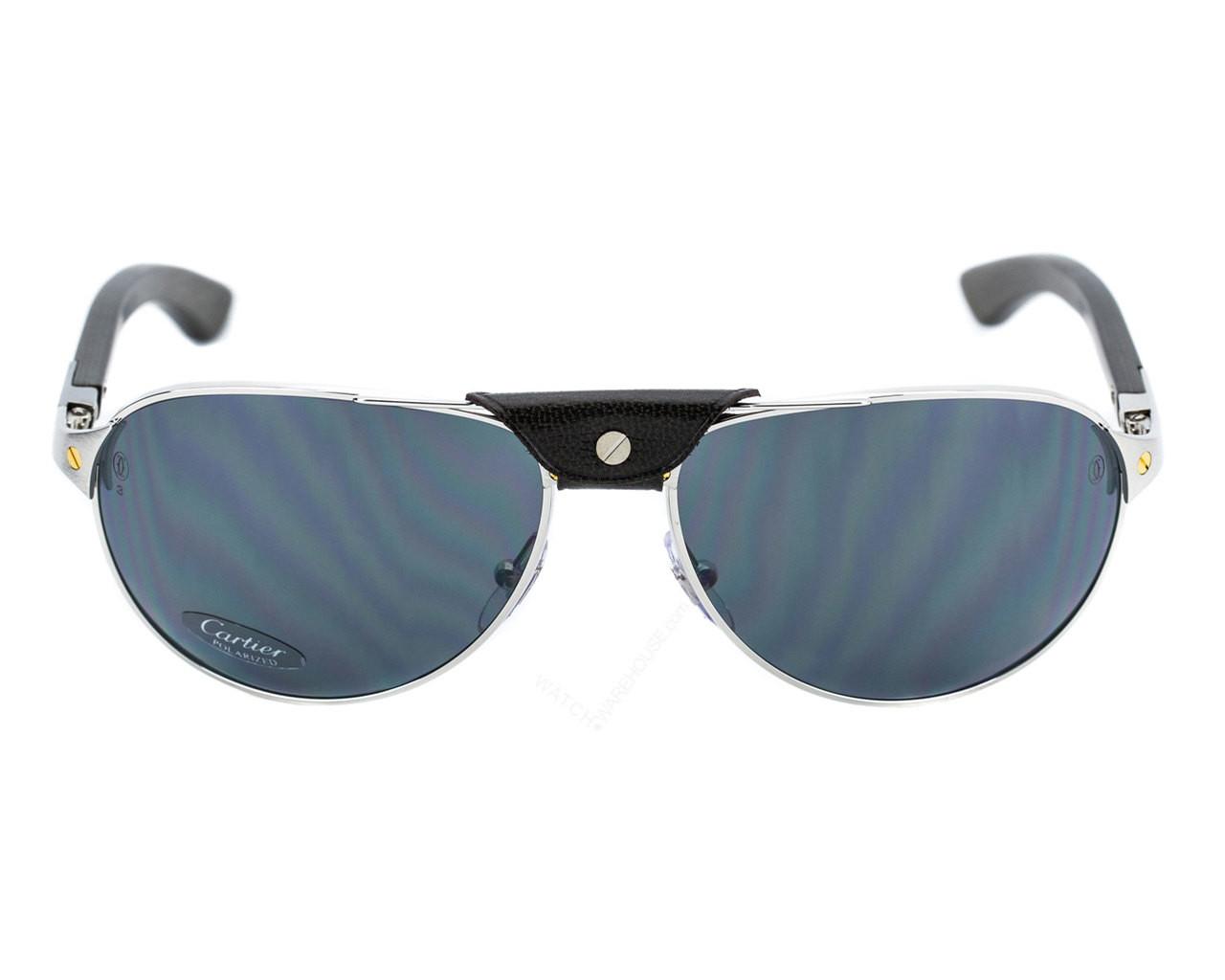 T8200864 Cartier Santos Wood Pilot Gray Polarized Lens Men\'s Sunglasses
