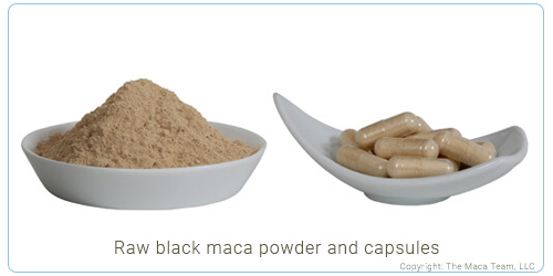 Raw Black Maca Root Powder and capsules