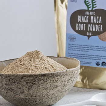 Raw Black Maca Powder in A Bowl