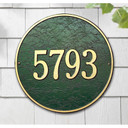"""This round plaque may be ordered with either text or numbers. Available in a Wall Mount only. Each plaque is crafted from rust-free recycled aluminum, with paints that have been specially formulated to withstand the harshest elements. Mounting hardware is included. holds up to three 7"""" numbers or five 4.5"""" numbers. Dimensions: 15"""" x 15"""""""