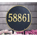 """This round plaque may be ordered with either text or numbers. Available in a Lawn Sign only. Each plaque is crafted from rust-free recycled aluminum, with paints that have been specially formulated to withstand the harshest elements. Mounting hardware is included. holds up to three 7"""" numbers or five 4.5"""" numbers. Dimensions: 15"""" x 15"""""""