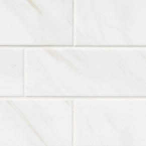 MS International Backsplash Series: Classique White Calacatta 4X16 Glossy Bull Nose Subway Tile NWHICALGLO4X16BN