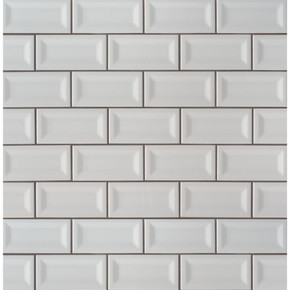 MS International Backsplash Series: Domino Gray 3X6 Inverted Beveled Glossy Subway Tile NGRAGLO3X6INVBEV