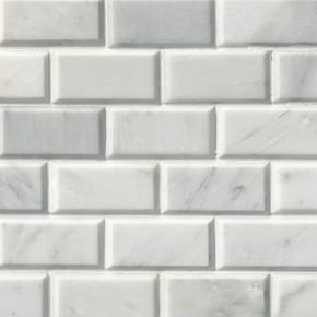 MS International Backsplash Series: Arabescato Carrara 2X4 Polished Bevel Mosaic Subway Tile SMOT-GRE-2X4PB