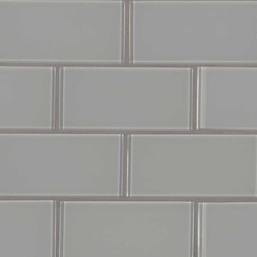 MS International Backsplash Series: Oyster Gray 3X6 Glass Subway Tile SMOT-GL-T-OYGR36