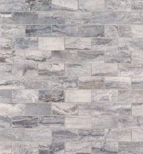 MS International Backsplash Series: Pietra Bernini Carbone 2X4 Polished Mosaic Subway Tile NPIEBERCAR2X4P