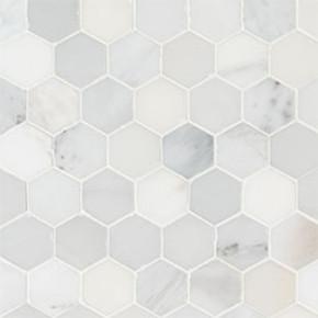 MS International Specialty Shapes Wall Series: Arabescato Carrara 2X2 Hexagon Honed Mosaic Tile SMOT-ARA-2HEXH