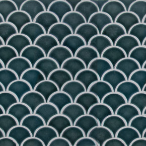 MS International Specialty Shapes Wall Series: Azul Scallop Glossy Porcelain Mosaic Tile SMOT-PT-AZULSCAL8MM