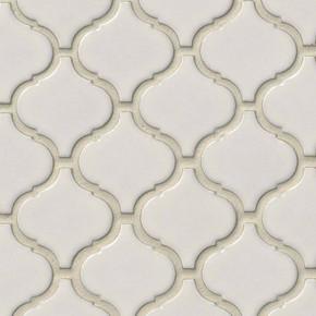 MS International Specialty Shapes Wall Series: Bianco White Arabesque 6mm Mosaic Tile SMOT-PT-BIANCO-ARABESQ