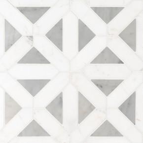 MS International Specialty Shapes Wall Series: Bianco Dolomite Geometric Pattern Polished Mosaic SMOT-BIANDOL-GEOP